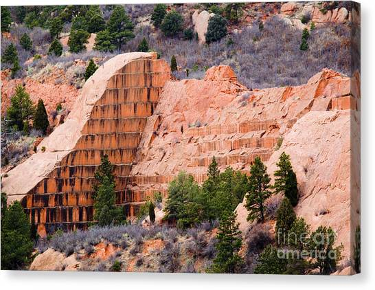 Quarry Closup At Red Rock Canyon Colorado Springs Canvas Print