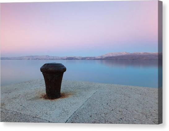 Canvas Print featuring the photograph Quay In Dawn by Davor Zerjav