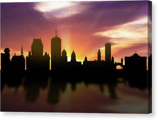 Quebec Canvas Print - Quebec Skyline Sunset Caqcqc22 by Aged Pixel