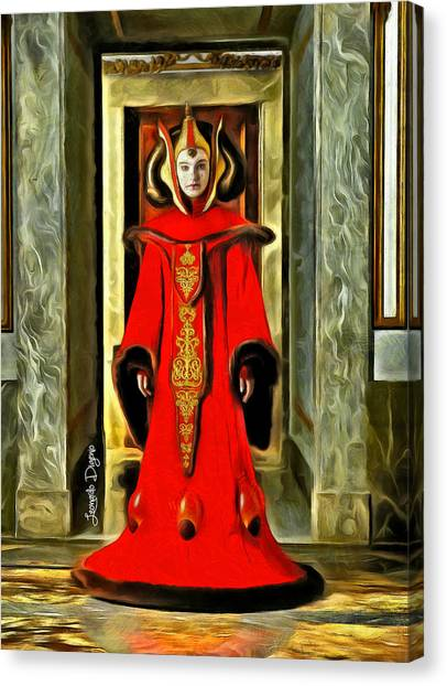 Padawan Canvas Print - Queen Amidala Throne Room Costume 2 by Leonardo Digenio