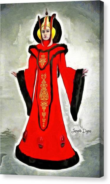 Padawan Canvas Print - Queen Amidala Throne Room Costume by Leonardo Digenio
