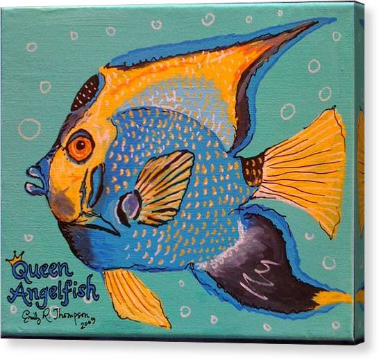 Queen Angelfish Canvas Print by Emily Reynolds Thompson