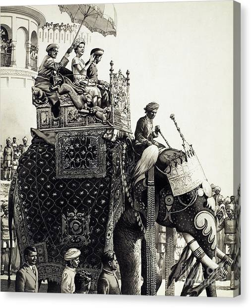 Queen Elizabeth Canvas Print - Queen Elizabeth II On An Elephant by Pat Nicolle