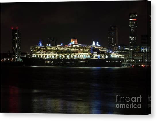 Queen Mary 2 At Night In Liverpool Canvas Print