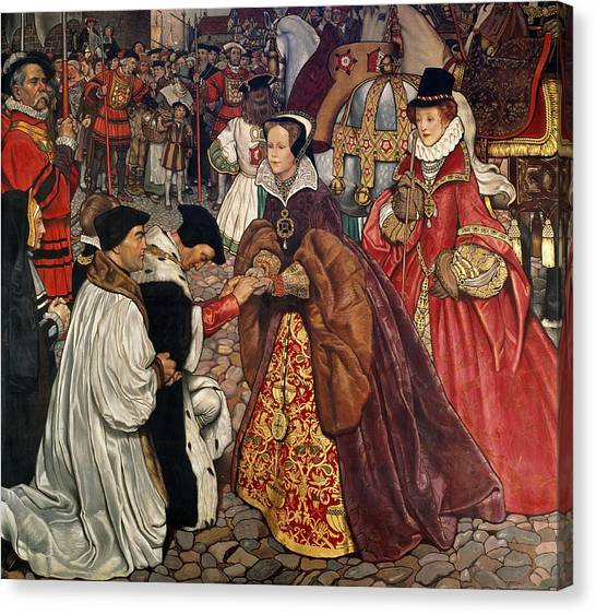 Queen Elizabeth Canvas Print - Queen Mary And Princess Elizabeth Entering London by John Byam Liston Shaw