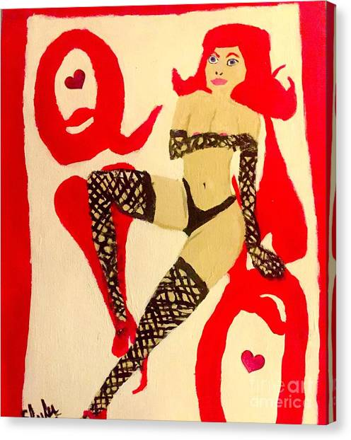 Queen Of Hearts Pin Up Girl Canvas Print by Shylee Charlton