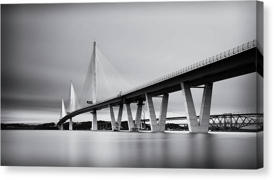 Queensferry Crossing Bridge Mono Canvas Print