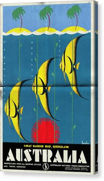 Queensland Great Barrier Reef - Vintage Poster Folded Canvas Print