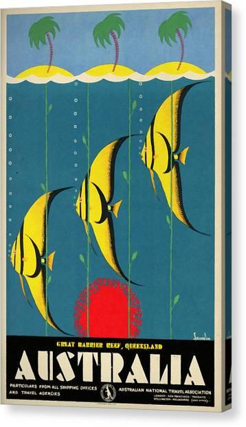 Queensland Great Barrier Reef - Vintage Poster Vintagelized Canvas Print