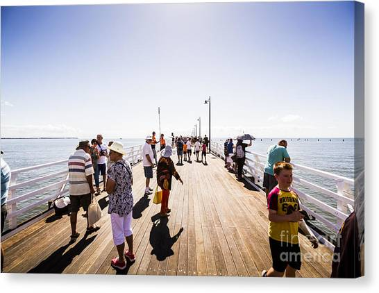 Ocean Sunrises Canvas Print - Queenslanders Walking On The New Shorncliffe Pier by Jorgo Photography - Wall Art Gallery
