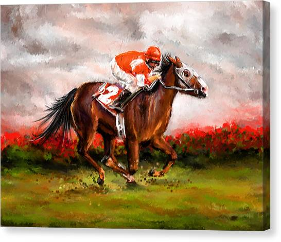 Horseracing Canvas Print - Quest For The Win - Horse Racing Art by Lourry Legarde