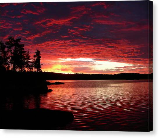 Canada Canvas Print - Quetico Sun Rise by Peter  McIntosh
