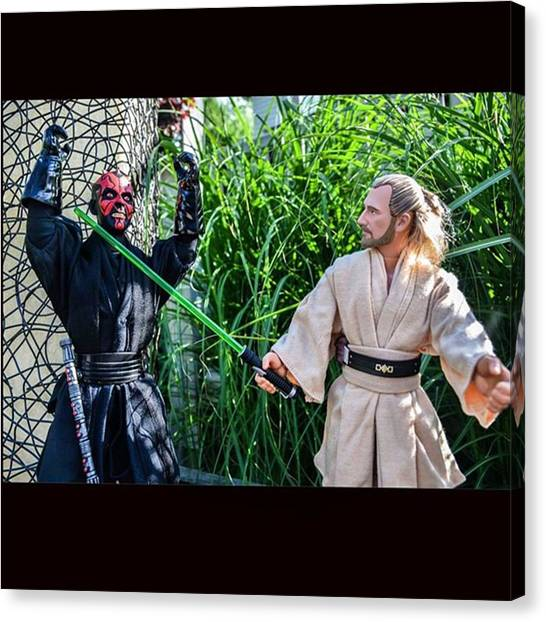 Jedi Canvas Print - Qui-gon Jinn Arrives On The Scene To by Russell Hurst
