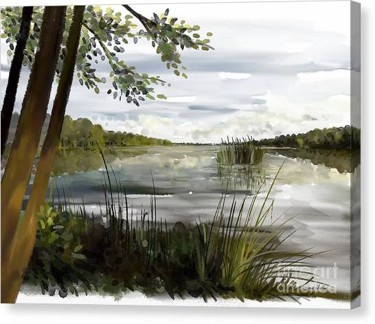 Canvas Print featuring the painting Quiet Day By Lake by Ivana Westin