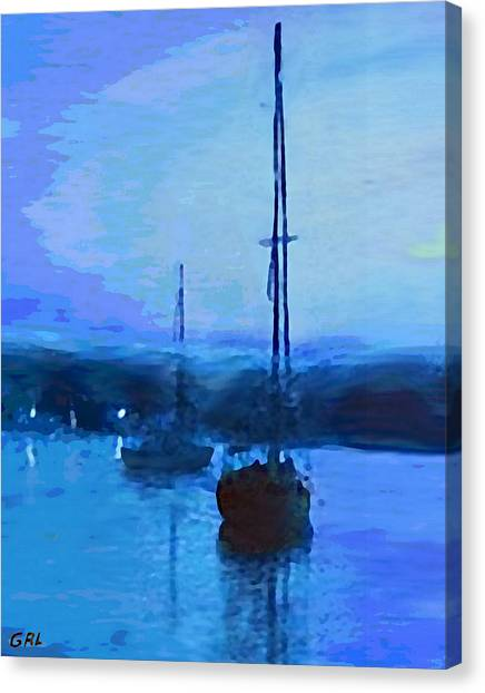 Canvas Print featuring the painting Quiet Evening Maryland Chesapeake Bay Detail Multimedia Fine Art Painting by G Linsenmayer