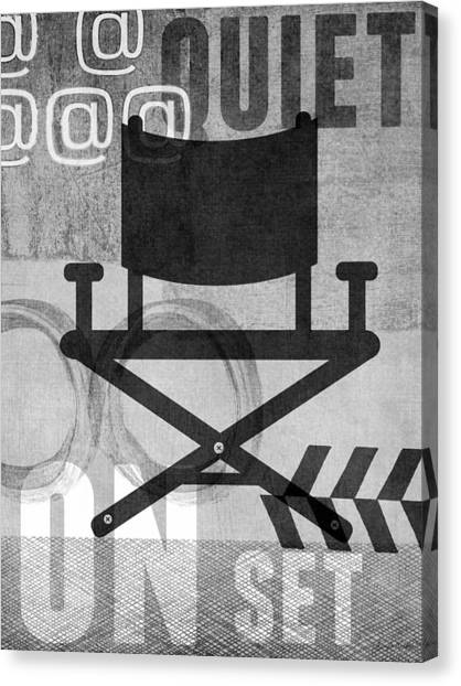 Black And White Canvas Print - Quiet On Set- Art By Linda Woods by Linda Woods