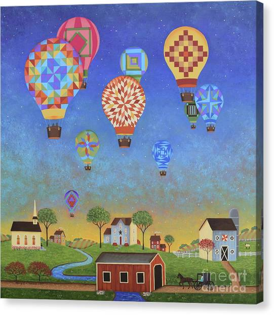 Hot Air Balloons Canvas Print - Quilted Sky by Mary Charles