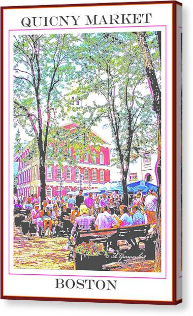 Quincy Market, Boston Massachusetts, Poster Image Canvas Print