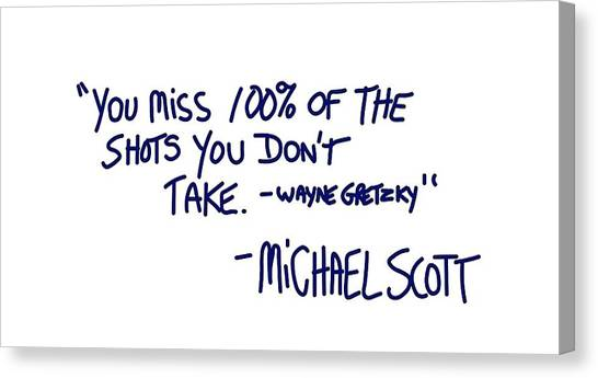 Wayne Gretzky Canvas Print - Quoted Quote by Helena Semprot