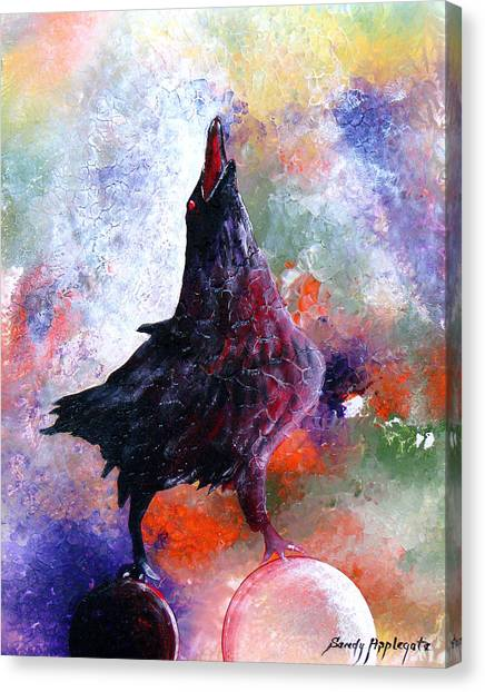 Quothe The Raven Canvas Print by Sandy Applegate