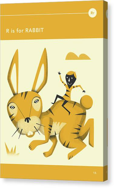 Rabbits Canvas Print - R Is For Rabbit by Jazzberry Blue