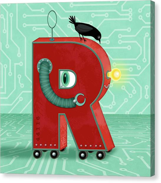 R Is For Robot Canvas Print