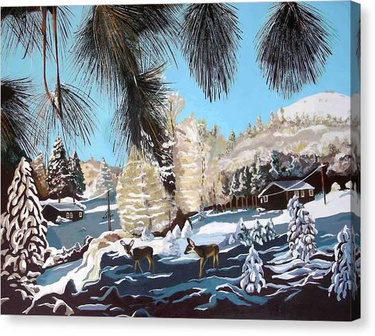R-ranch In The Winter Canvas Print by Olga Kaczmar