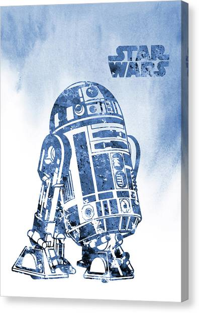 R2-d2 Canvas Print -  R2-d2-blue by Erzebet S