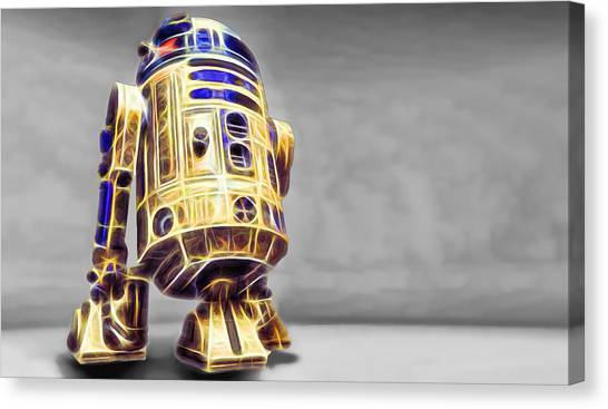 R2-d2 Canvas Print - R2 Feeling Happy by Scott Campbell