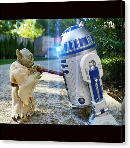 Droid Canvas Print - R2 Waiting For Leia And 3po Hears by Russell Hurst