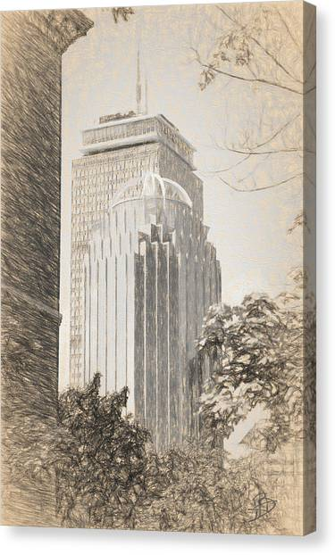 R2d2 Building And The Prudential Center Canvas Print