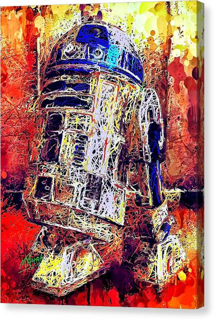 Canvas Print featuring the mixed media R2 - D2 by Al Matra