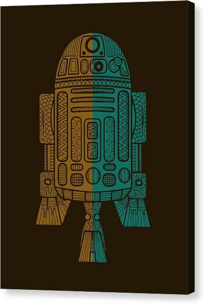 R2-d2 Canvas Print - R2d2 - Star Wars Art - Brown, Blue by Studio Grafiikka