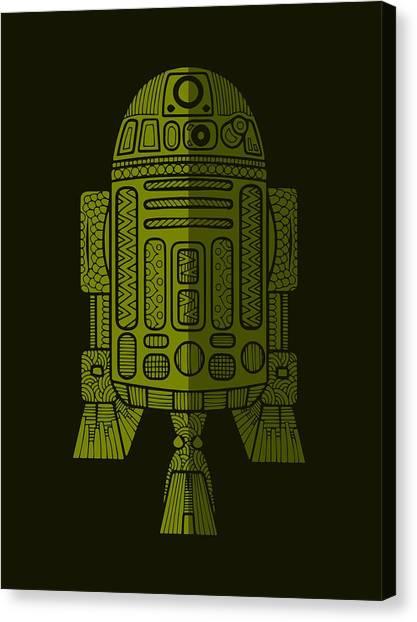 R2-d2 Canvas Print - R2d2 - Star Wars Art - Green 2 by Studio Grafiikka