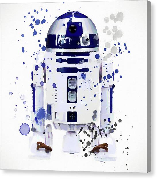 Obi-wan Kenobi Canvas Print - R2d2 Watercolor by Dan Sproul