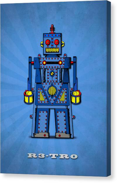 Droid Canvas Print - R3 Tr0 Robot by Mark Rogan