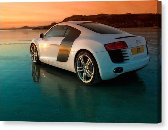 Audi Canvas Print - R8 On The Beach 2 by Rory Trappe
