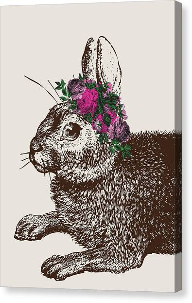 Spring Canvas Print - Rabbit And Roses by Eclectic at HeART