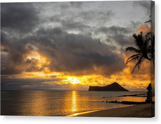 Lava Canvas Print - Rabbit Island Sunrise - Oahu Hawaii by Brian Harig