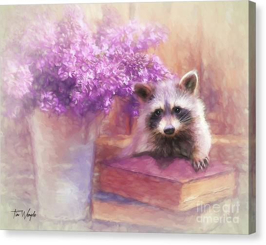 Raccoon Reader Canvas Print by Tim Wemple