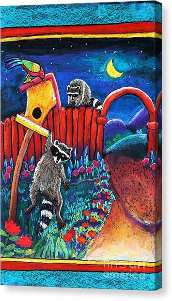 Raccoon Trouble Canvas Print by Harriet Peck Taylor