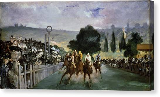 Finish Line Canvas Print - Races At Longchamp by Edouard Manet