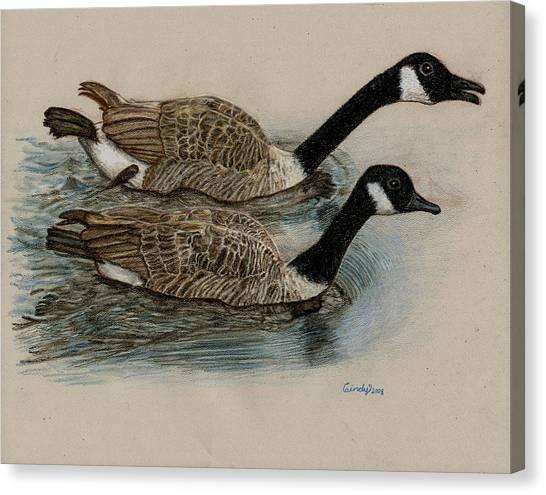 Racing Geese Canvas Print by Cynthia  Lanka