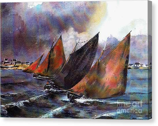 Galway Hooker Canvas Print - Racing Hookers Off Aran by Val Byrne