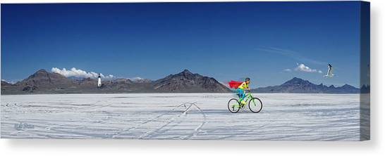 Racing On The Bonneville Salt Flats Canvas Print