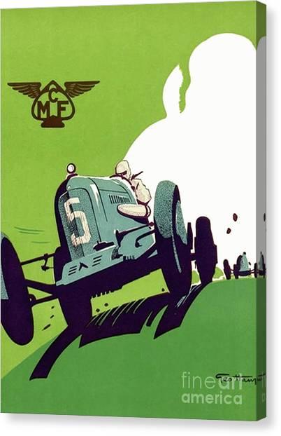 Hamels Canvas Print - Racing Poser, Motor Club Of France by Georges Hamel