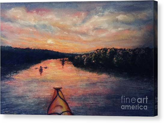 Racing The Sunset Canvas Print