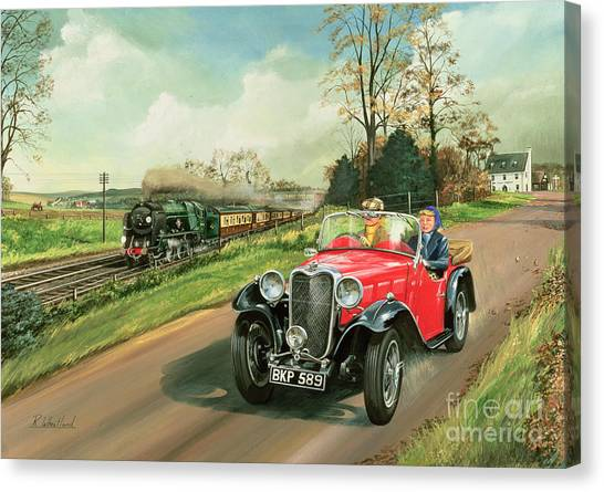 Car Canvas Print - Racing The Train by Richard Wheatland