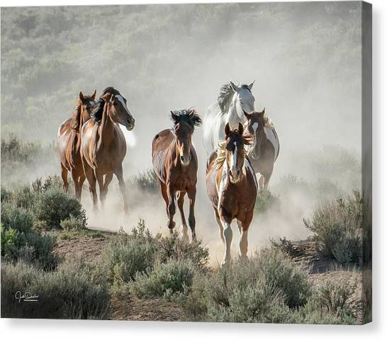 Racing To The Water Hole Canvas Print