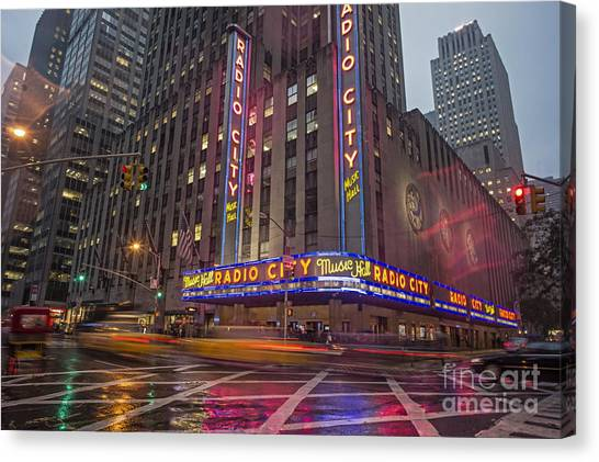 Canvas Print featuring the photograph Radio City New York  by Juergen Held